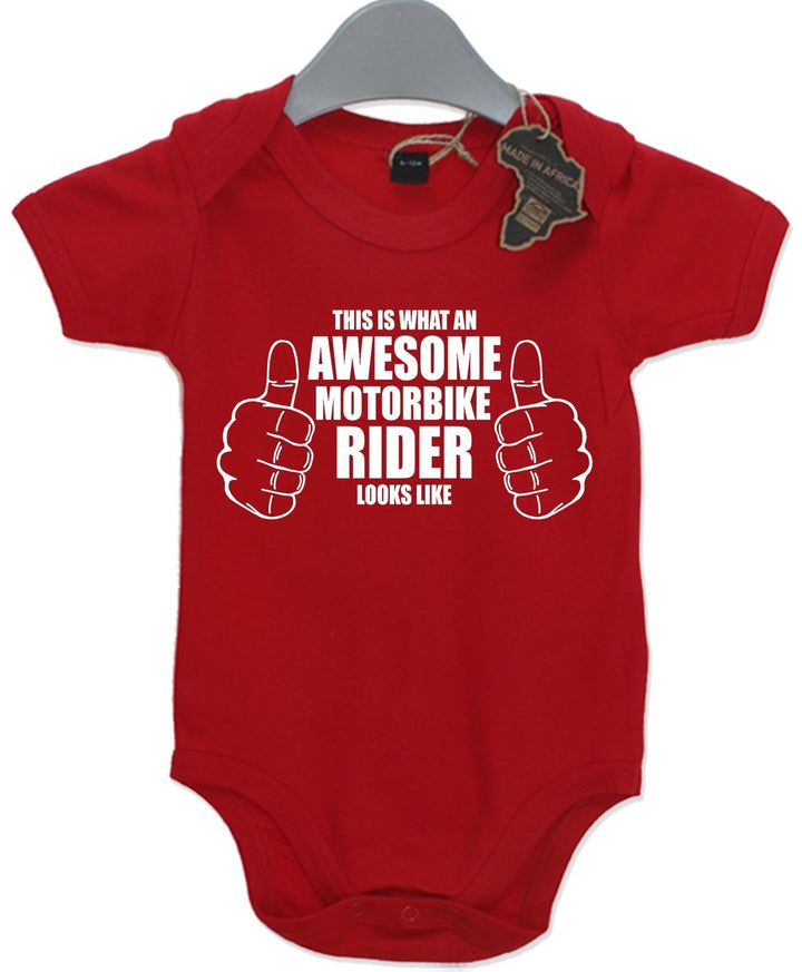Awesome Motor Bike Rider Gift Baby Grow Boys Girls Present Play Suit Cute