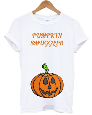 Pumpkin Smuggler T Shirt Halloween Pregnant Funny Baby Twins Outfit Costume Maternity