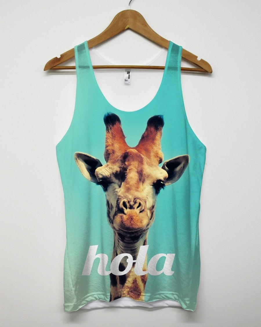 HOLA GIRAFFE ALL OVER PRINT VEST FUNNY STREET APPAREL MEN WOMEN HOLIDAY SUMMER