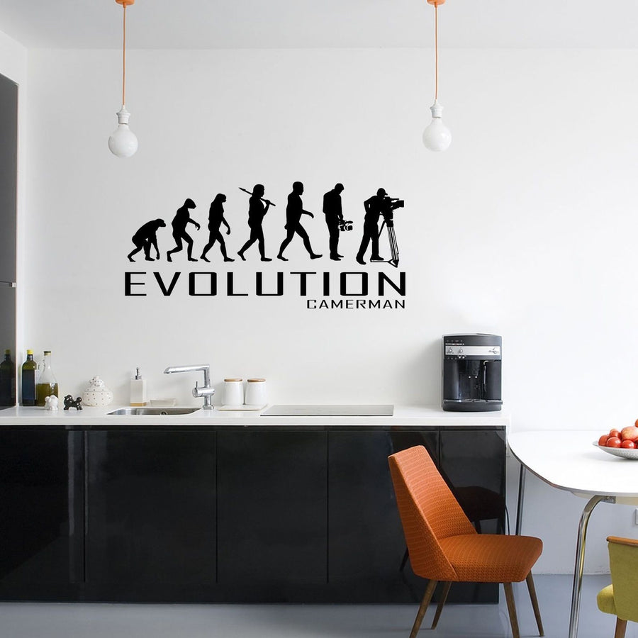 Evolution Of Cameraman Wall Sticker Vinyl Decal Decors Art Camera Film Shoot