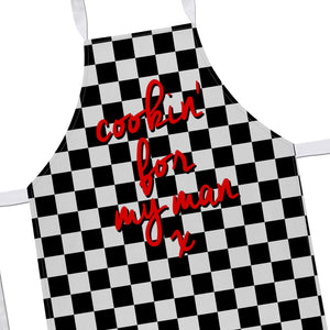 Cookin For My Man Apron Valentines Day Cute Gift Chef Romantic Table Decor EM172