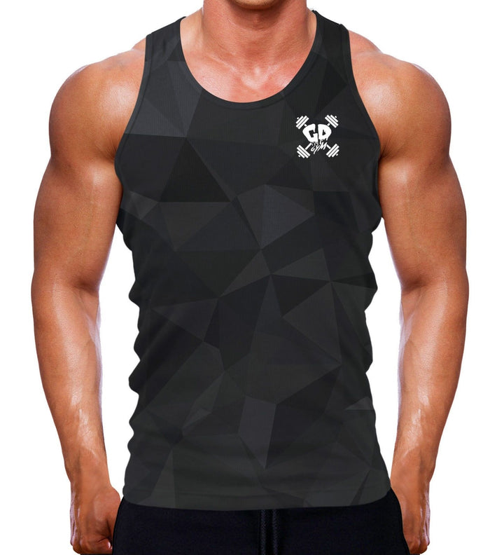 BLACK OUT GEOMETRIC MUSCLE VEST TANK BODYBUILDING FIT GREY WORKOUT GYM CLOTHING