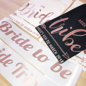 ROSE GOLD Bride Tribe Hen Party Tshirts OR Sash Wedding Bachelorette Bridesmaid