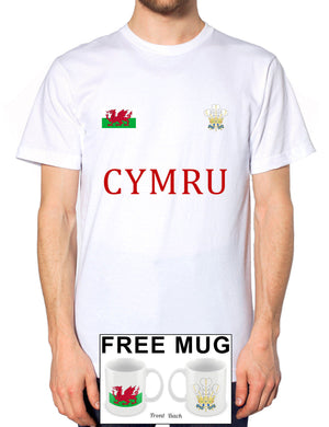 Wales Cymru Welsh Feathers Badge Dragon Rugby Tshirt Football Mens *FREE MUG* 1