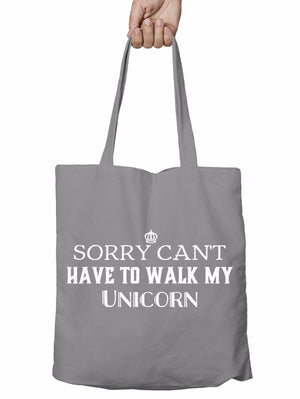 Walk My Unicorn Funny Shopper Tote Bag Magical Princess Christmas Shopping T24