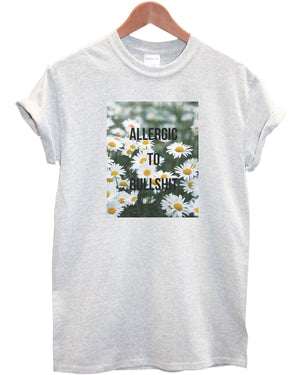 Allergic To Bull S&%# T Shirt Top Mens Womens Kids Funny Hipster Indie Tumblr, Main Colour White