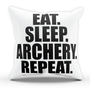Eat Sleep Archery Pillow Cushion Pad Cover Case Bed Archer Bow Arrow Sport