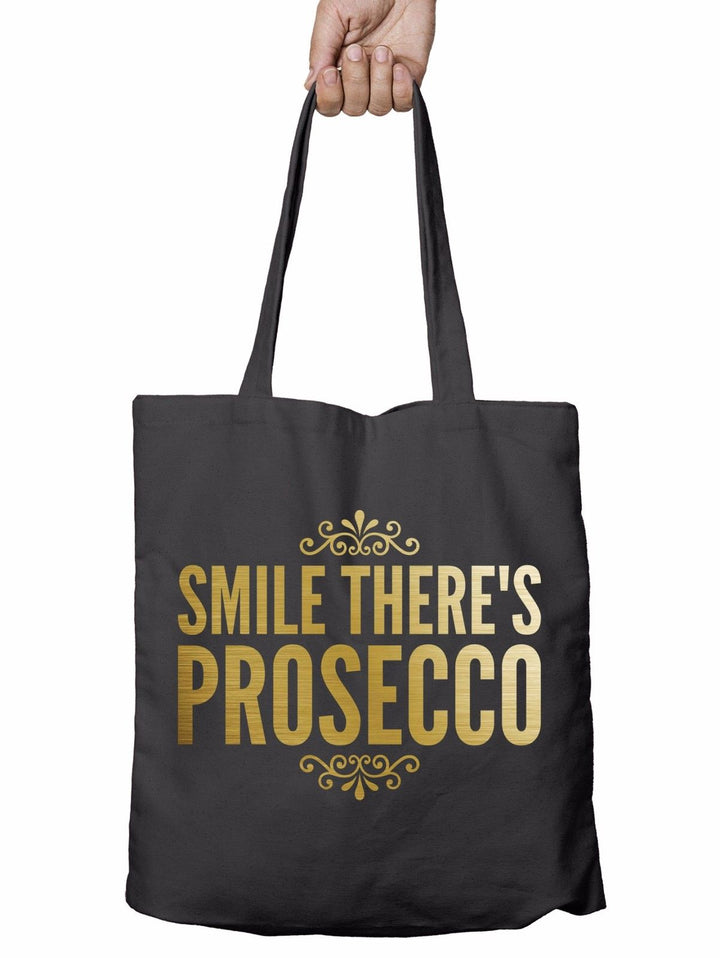 Smile Theres Prosecco Drink Shopper Tote Bag Reusable Gift Shopping Christmas T5