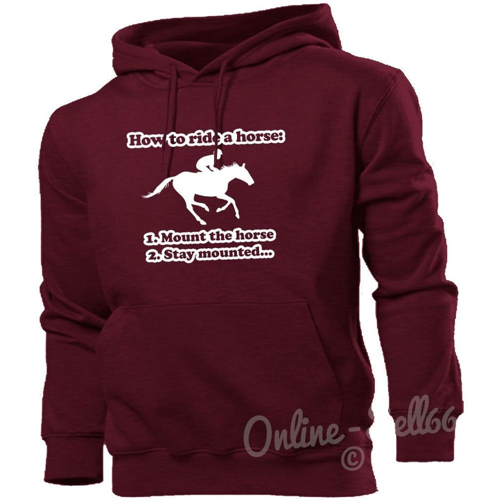 How To Ride A Horse Hoodie Women Men Kid Riding Clothing Jumper Equestrian Girls, Main Colour Maroon