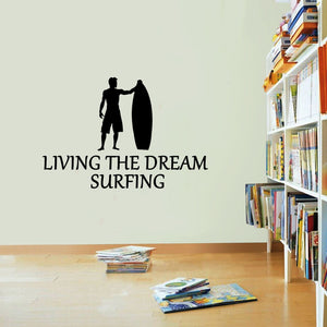 Surfing Sticker Living The Dream Surfer Waves Surf Wall Vinyl Print Decal Art