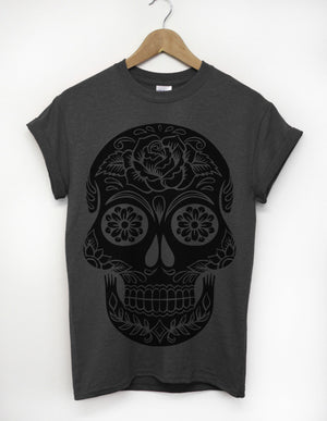Dark Candy Skull Tshirt Full Print Men Clothing Indie Light Grey Charcoal Dope