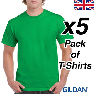 Mens Irish Green T Shirt 5 Pack Gildan Heavy Cotton Tee Top New Plain Cheap Work