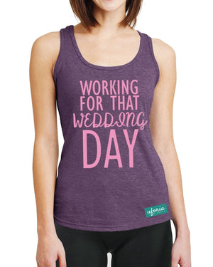 Working For That Wedding Day AUBERGINE Lady Gym Vest Racer Exercise Fitness U48