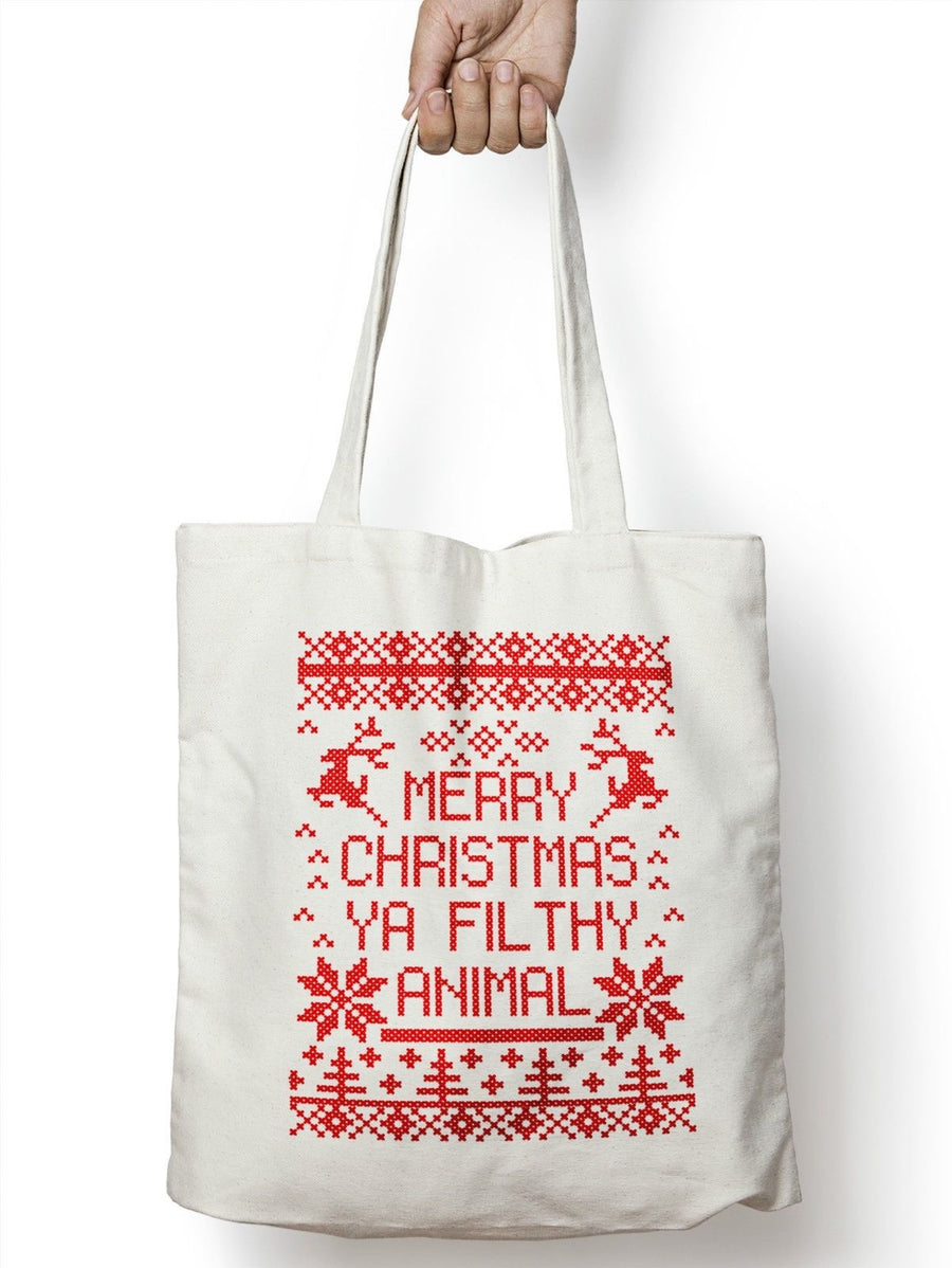 Merry Christmas Ya Filthy Animal Shopping Tote Bag Home Shop Alone Movie  M72