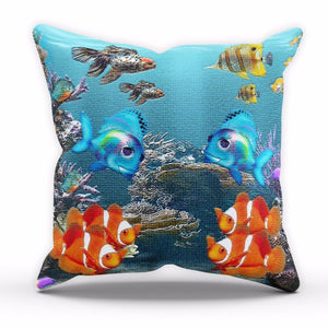 Tropical Underwater Fish Cushion Aquarium Home Decor Cover Pillow Nemo Linen C16
