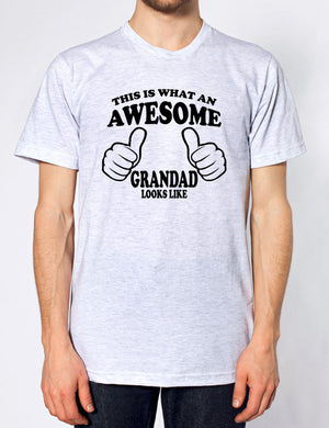 THIS IS WHAT AN AWESOME GRANDAD LOOKS LIKE T SHIRT FATHERS DAY XMAS GIFT PRESENT, Main Colour Ash Grey