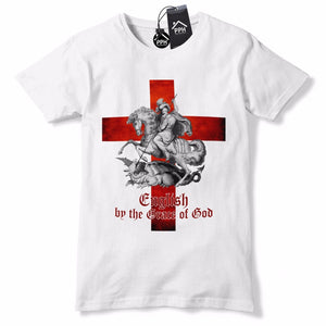 English By The Grace of God T Shirt St George's Day Tshirt Dragon England GD1