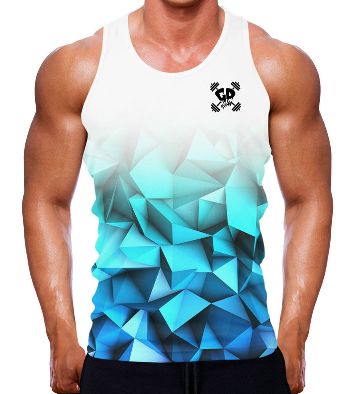 BLUE GEOMETRIC BOTTOM FADE TANK VEST SINGLET BODYBUILDING WORKOUT TRAINING MENS