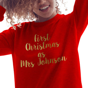 GOLD First Christmas as Personalised Christmas Jumper Wedding Sweatshirt CH55
