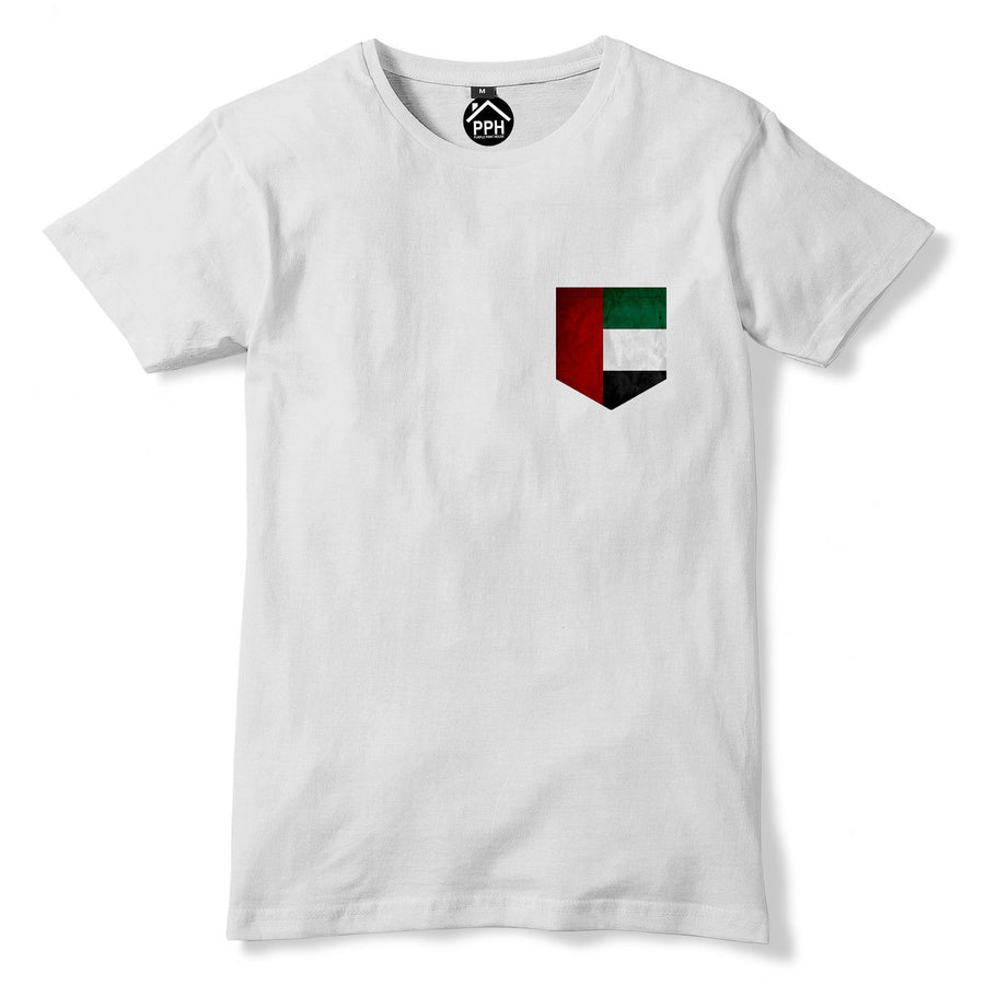 Vintage Print Pocket United Arab Emirates UAE Flag Tshirt Football T Shirt 312