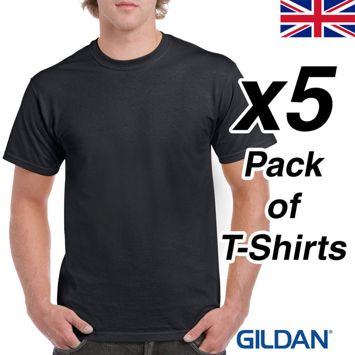 Mens Black T Shirt 5 Pack Gildan Heavy Cotton Tee Plain Cheap Work Dark All Size