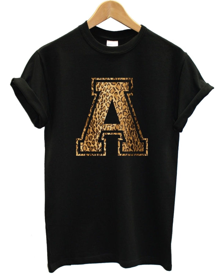 A Leopard Letter T Shirt Top Persoanlised Tumblr Indie Hipster Swag Cross Shop, Main Colour Black