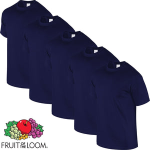 Navy Blue 5 Pack Mens Fruit of the Loom Plain Cotton Tshirt T Shirt All Sizes