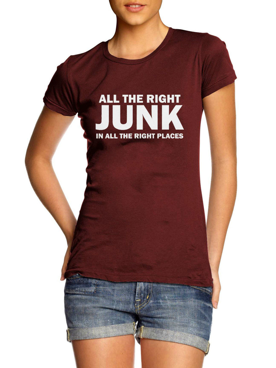 All The Right Junk In All The Right Places T Shirt Plus Size Blogger Big Bass, Main Colour Maroon