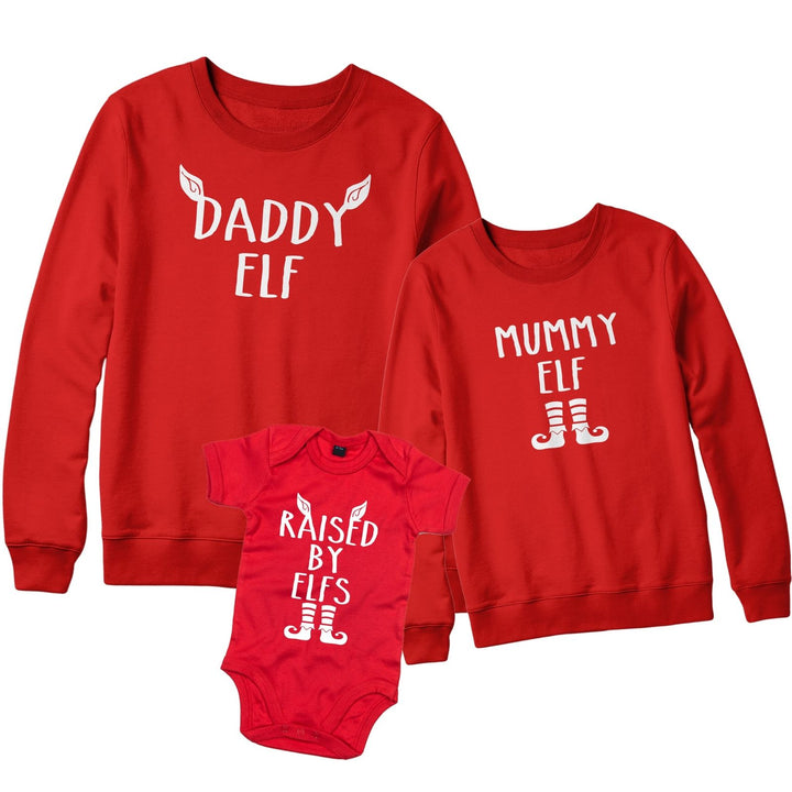 Family Christmas Jumper Babygrow Sweatshirt Mummy Elf Daddy Raised by Elfs L141