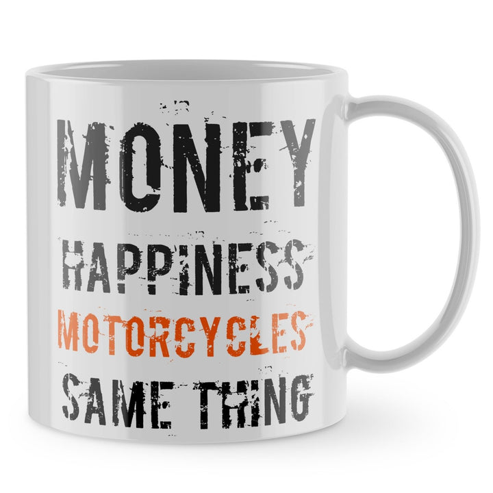 Motorbike Mug - Money Happiness Motorcycles Moto GP Funny Gift Cup Bike Dad 880