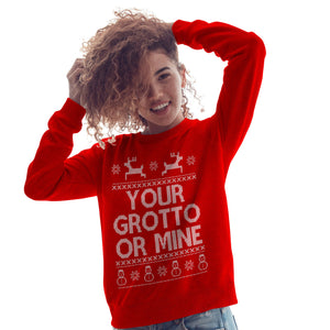 Your Grotto or Mine Fair Isle Christmas Jumper Gift Top Sweatshirt Womens CH1