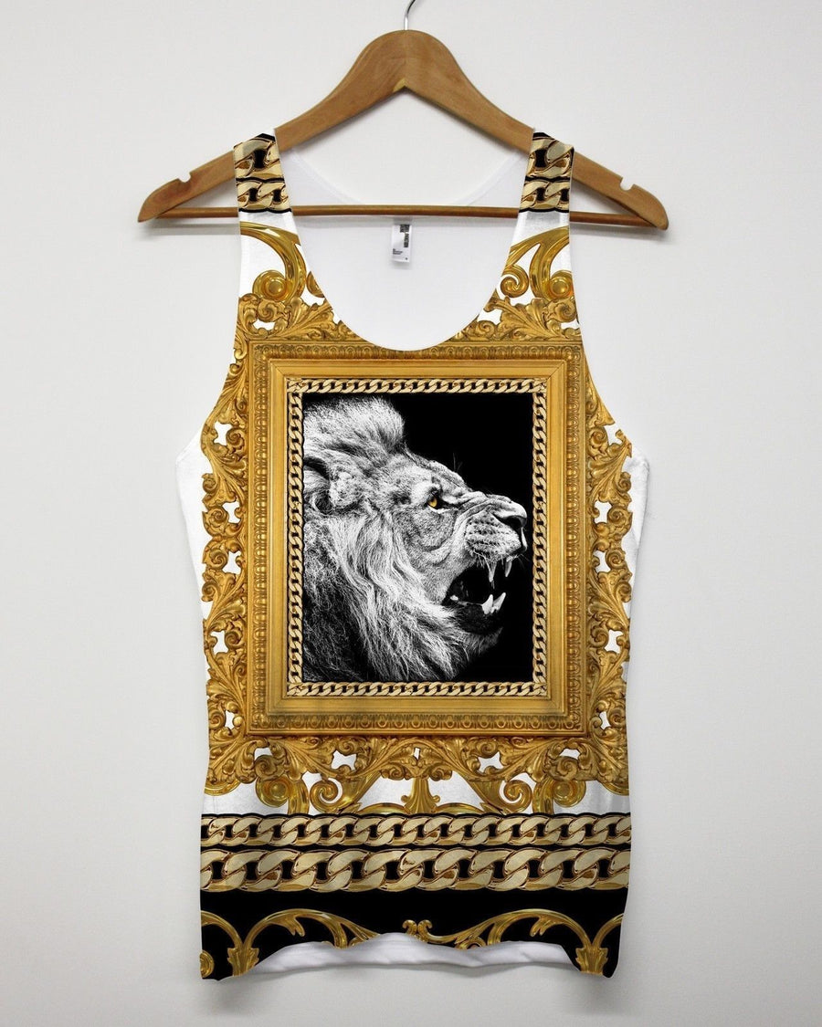 Lion Gold Frame All Over Print Vest Singlet Tank Top Men Urban Hip Hop Swag King