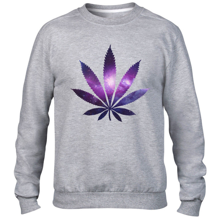 Space Marijuana Leaf Funny Mens Sweater Leaf Drug Sweatshirt High