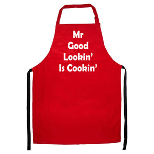 MR GOOD LOOKIN IS COOKIN APRON FUNNY SLOGAN XMAS GIFT DINNER COOK CHEF MEN WOMEN