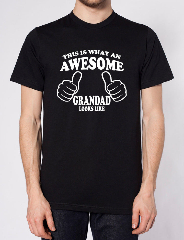 THIS IS WHAT AN AWESOME GRANDAD LOOKS LIKE T SHIRT FATHERS DAY XMAS GIFT PRESENT, Main Colour Black