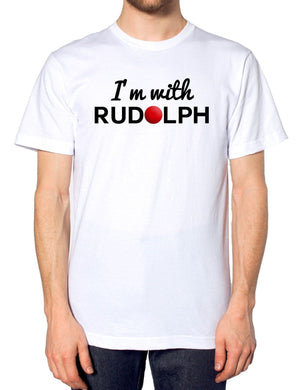 I'm With Rudolph T Shirt Funny Festive Christmas Red Nose Glitter Novelty School