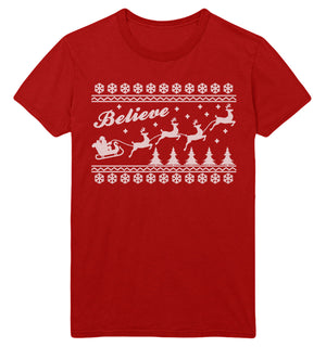 Believe Fair Isle Christmas T Shirt Ugly Men Women Kids Santa Sleigh Reindeer