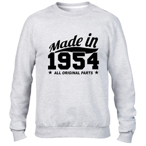 MADE IN 1954 ALL ORIGINAL PARTS SWEATER MENS WOMENS COOL BIRTHDAY GIFT PRESENT