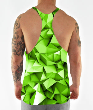 LIME GREEN GEOMETRIC BODYBUILDING GYM VEST MUSCLE STRINGER BACK CLOTHING WORKOUT