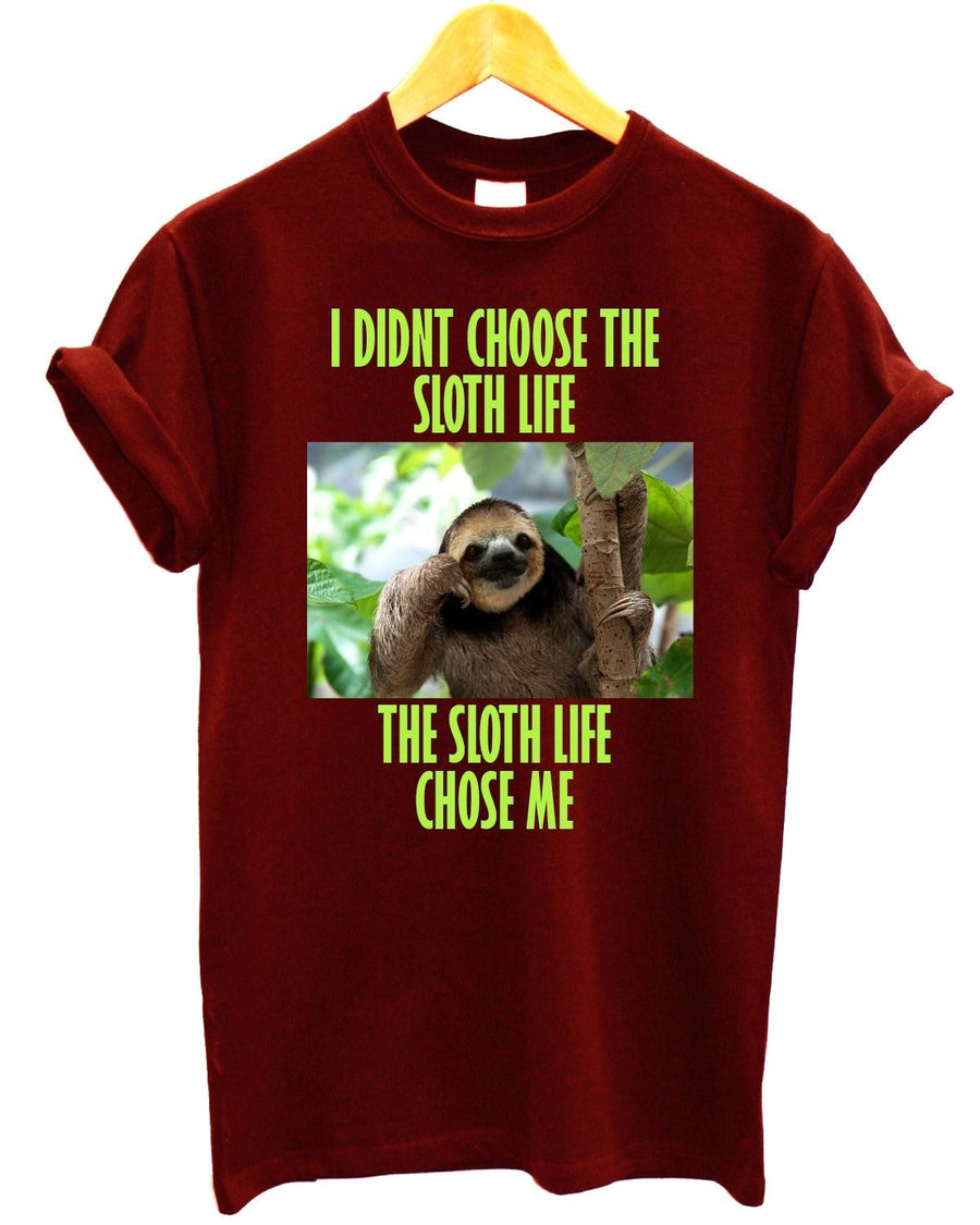 I Didn't Choose The Sloth Life The Sloth Chose Me T Shirt Funny Lazy Present, Main Colour Sport Grey