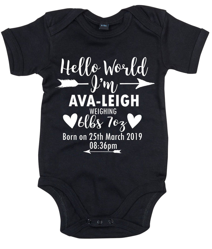 Hello World CUSTOM BIRTH DATE NAME WEIGHT Baby Grow Gift Keepsake Newborn AS35