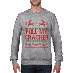 Pull My Cracker Funny Rude Christmas Jumper Fair Isle Mistletoe Sweatshirt CH7