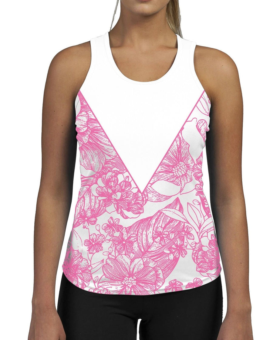 Floral Triangle Pink WOMENS GYM TANK Top Vest Ladies Fitness Muscles Flower