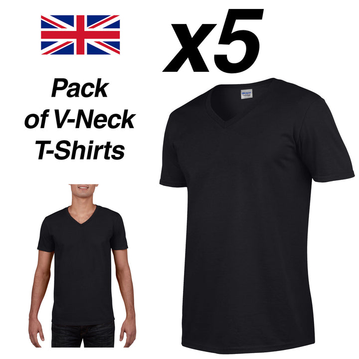 Mens BLACK V-NECK T SHIRT 5 Pack Gildan Cotton Man Top New Plain Cheap Summer