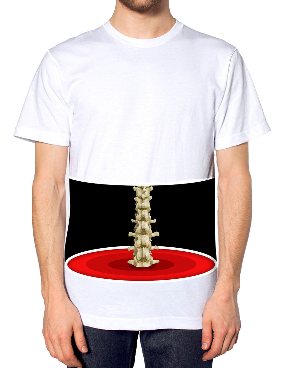 Spine showing Skeleton T-Shirt All Over Funny Halloween Costume Men Women L103
