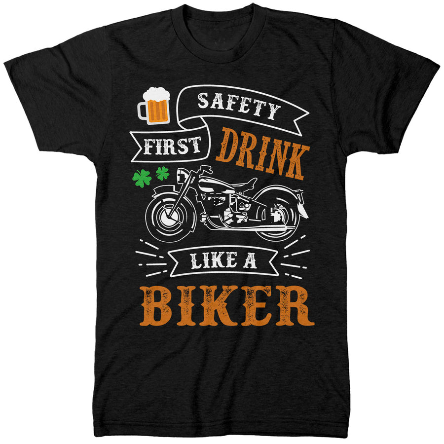 Drink Like A Biker St Patricks Day Tshirt - Funny Motorcycle Mens Gift for a Biker - Father or Grandfather