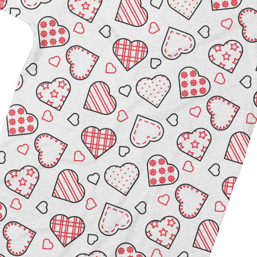 Heart Pattern Womens T Shirt - Pink And White All Over Print