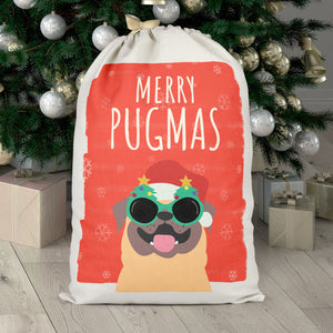 Cute Merry Pugmas Santa Sack - Parody Pugmas Bag - Christmas Sack for Pug Lovers - Christmas Eve Gift Bags
