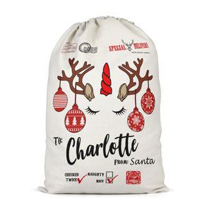 Personalised Unicorn Reindeer Christmas Sack