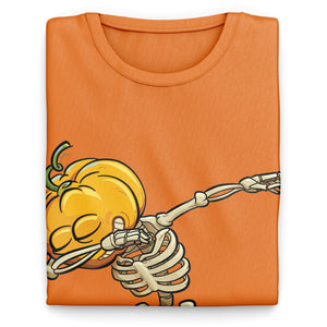 Dabbing Skeleton Pumpkin Head Shirt - Funny Parody Halloween T Shirt - Kids Halloween Top Great Gift Idea - Dancing Cartoon Tee Shirts